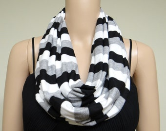 White Grey And Black Striped Circle Scarf.Loop Scarf.Infinity Scarf.