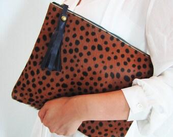 Leopard Print Calf Hair Zipper Pouch Leather Clutch