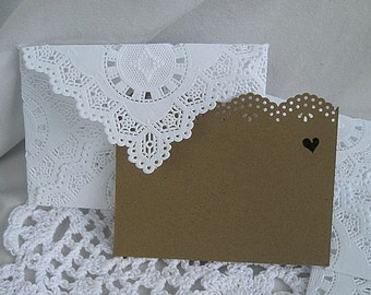 "Doily lace Envelope Mini Paper Lace White Envelopes Handmade, White, Shabby Chic 3.75"" x 2.5"" or 3 x 3 Inches"