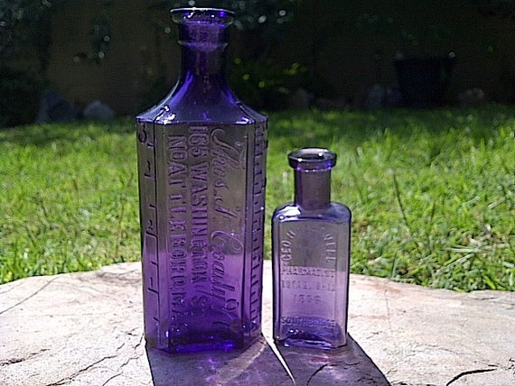 Set of Two Antique Purple Medicine Bottles, Doctor Bottle and Pharmacist Bottle, Fascinating History and the Color WOW