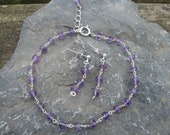Amethyst and 925 sterling silver bracelet and earring set