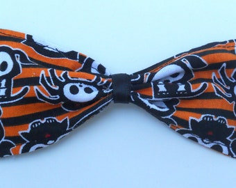 Skeletons Orange and Black Halloween Hair Bow