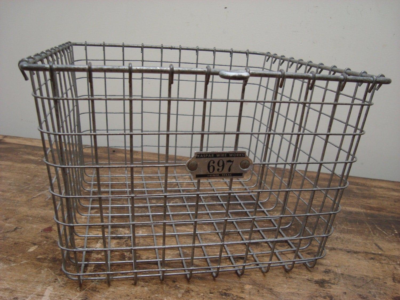 1950s vintage school gym industrial wire basket kaspar wire. Black Bedroom Furniture Sets. Home Design Ideas