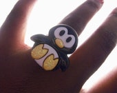 SILLY LITTLE PENGUIN Adjustable Ring 1 Size Should Fit All by Juste Jolie