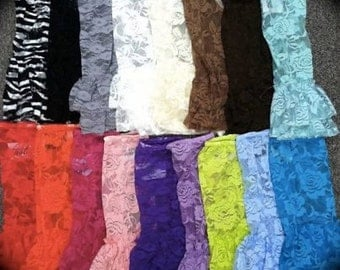 Double Ruffle Leg Warmers, Lace Leg Warmers, All Colors, All sizes