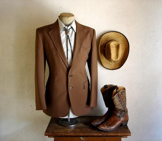 1970s LEVI'S Western Suit Jacket Mens Vintage Brown Cowboy Style Sport Coat by Levi's Western Wear San Francisco, CA - Size 40R (MEDIUM)
