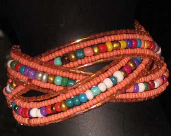 Orange Beaded Braided Cuff Bracelet, Fun, Comfortable, New