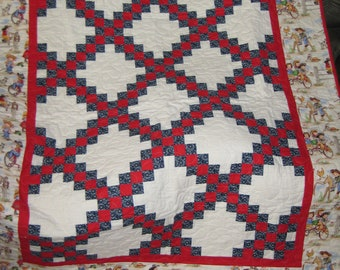 Lil Cowgirl quilt, red white and blue throw quilt with an Irish chain center, 55x66.5