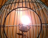 SALE---Hanging Metal Bird Cage Lamp