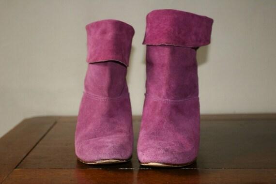 Vibrant, Colorful Purple Suede Boots Size 7.5