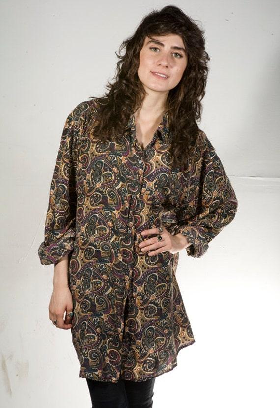 90s SILK PAISLEY baroque oversize button down shirt