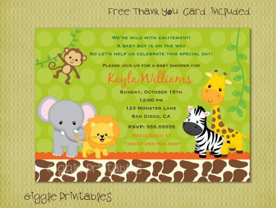 safari jungle baby shower invitation free thank you card included