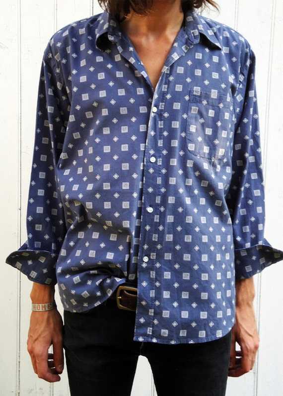 Vintage 1970s Patterned Deep Blue Shirt Size M