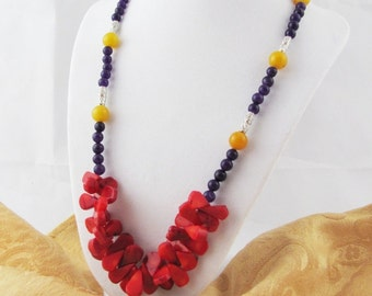 Purple Amethyst Red Coral Yellow Agate Silver metal Beaded Necklace OOAK  boho shabby chic gypsy classic bohemian SCA romantic springtime
