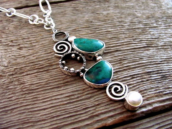 In Dreams Necklace with Chrysocolla Freshwater Pearl and Sterling Silver Reserved for Anne