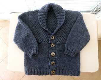 MADE to ORDER - hand knitted blue baby cardigan with shawl collar | boys sweater | fit 9 months baby