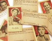 10 Vintage Engrav-O-Tint Fortune Cards - 1940s Penny Scale Fortunes Featuring Movie Stars and Singers - Peerless Weighing and Vending Corp.