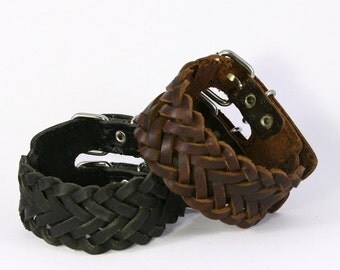 Genuine Leather Braided Cuff. Big Bold Chunky Wide. Buckled Two Buckles. B014
