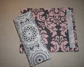 Car Seat Strap Cover . Reversible . Pink and Gray Damask . Lace Pattern
