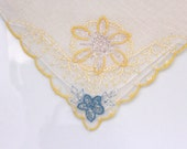Linen Embriodered Handkerchief Vintage Hankie - Off White with Yellow Blue and Silver