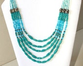 Turquoise Necklace - Five Strands With Oval Beads - Blue Beads with Silver Tone Metal - Vintage - Southwestern