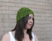 Fun knitted beanie in a beautiful chartreuse trellis yarn.
