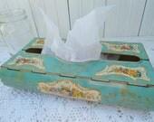 Vintage Tin Kleenex box holder -turquoise made in England tissue holder