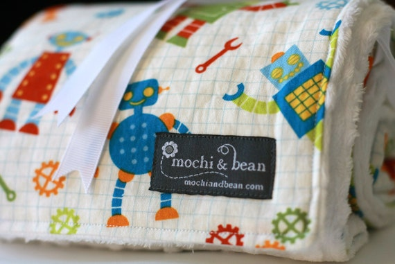 Organic Baby Blanket with Stroller Ties, Robot Factory in Multi by Caleb Gray and White Dot Minky