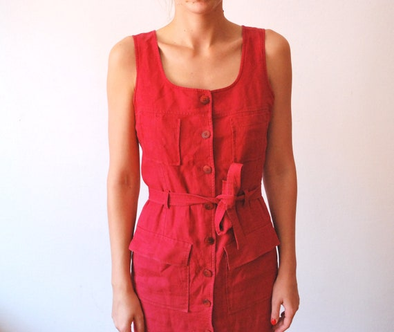 Vintage red flax dress long women size small