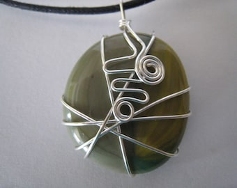 Wire Wrapped Glass Pendant on a Cord (113)