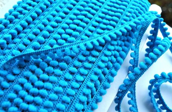 yards turquoise mini pom pom fringe trim - sewing - papercraft - diy ...