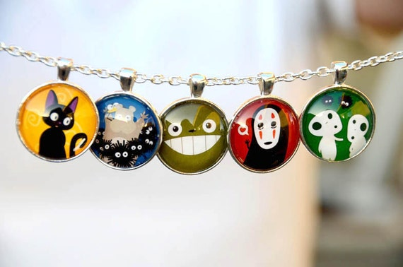 Totoro & Studio Ghibli Characters - 6 in 1 Glass Pendant Necklace - 1 inch