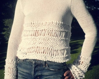 Handmade white cotton summer sweater