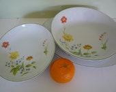 "Vintage Castlecourt Fine China ""April Flowers"" Serving Plates Set of 3, festive table, Sunday dinner"