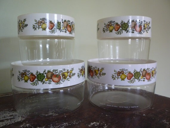 "Vintage Pyrex ""Spice of Life"" Canister Set of 4"