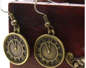 CLOCK  Antiqued Bronze Colored Dangle Earrings  by Watto's Wife / FREE shipping in US