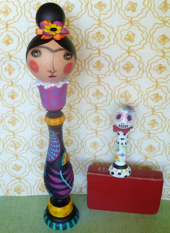 Frida Kahlo wooden doll and Day of the Dead small doll