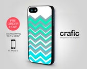 iPhone 5 Case - Blue Mint Chevron - FREE Shipping (PRE-ORDER)