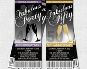 MILESTONE BIRTHDAY or ANNIVERSARY Party Ticket Invitations - Any Age (printable) 21st 30th 40th 50th 60th Champagne Glass Design