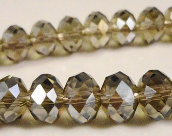 Rondelle Crystal Beads 8x6mm (6x8mm) Smoke Gray AB (Grey) Faceted Chinese Crystal Glass Beads on an 8 1/4 Inch Strand with 35 Beads