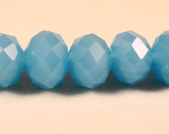 Blue Rondelle Crystals 8x6mm Opaque Light Blue Faceted Chinese Crystal Beads on an 8 Inch Strand with 35 Beads