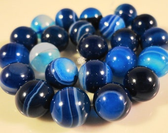 Blue Agate Gemstone Beads 8mm Round Striped Agate Dyed Blue Semiprecious Stone Beads on a 7 1/4 Inch Strand with 23 Beads