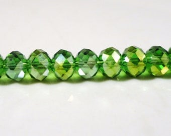Green Crystal Beads 6x4mm Apple Green AB Faceted Rondelle Chinese Crystal Beads on an 8 Inch Strand with 50 Beads