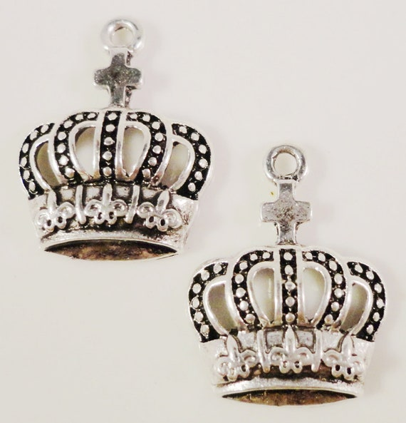 Silver Crown Charms 20x15mm Antique Silver Tone Metal Royalty Charm Pendant Jewelry Findings 8pcs