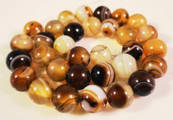 Brown Striped Agate Beads 6mm Round Agate Beads, Striped Agate Stone Beads, Brown Gemstone Beads on a 7 1/2 Inch Strand with 32 Beads