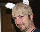 the Betty-Boo beanie for humans hand knitted bunny rabbit hat