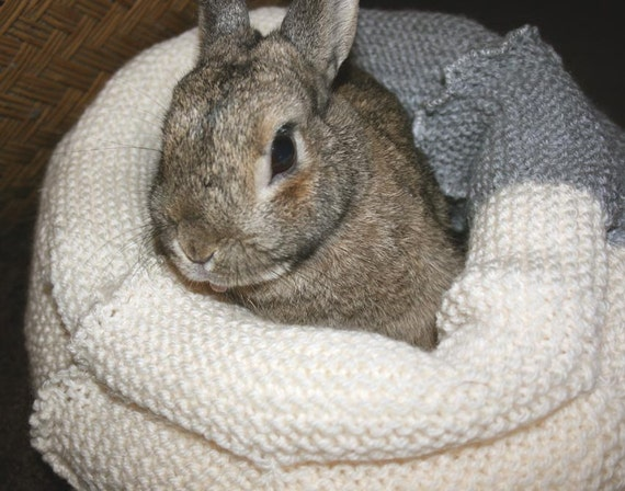 Buñuelo bunny snuggler bed for a small sized rabbit hand knitted cream and grey