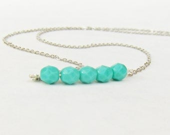 Mint and Silver Delicate Necklace - Minimalist Jewelry