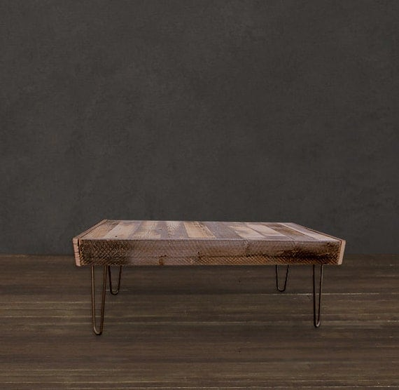 Reclaimed Wood Coffee Table Set On 14 Steel Hairpin