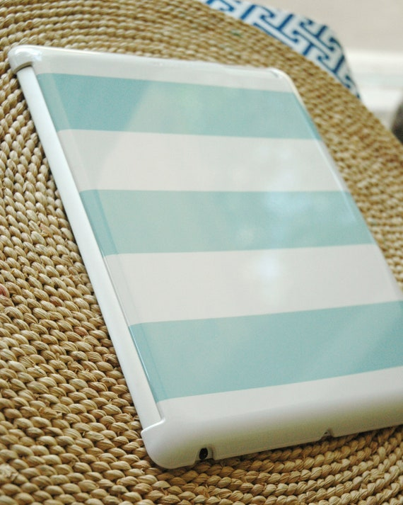 Wide Stripe Barely-There Snap-On Hard Plastic iPad 2 / iPad 3 Case in Island Blue (In Stock & Ready to Ship)